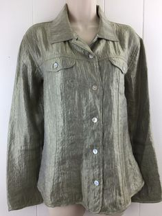 Chico's 2 M L Jacket #Shimmer Green Pockets Long Sleeve Button Top Size 12 14 #Chicos