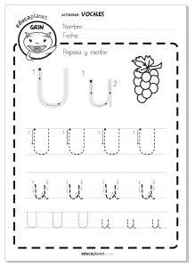 lectoescritura vocale letra U u