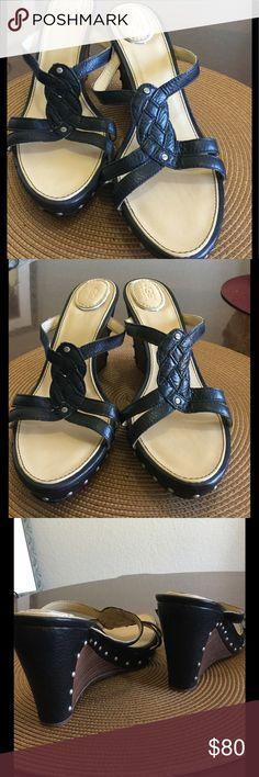 "UGG Black Wedge Leather studded Sandals. 4"" heel. Like new, never worn. UGG Shoes Sandals"
