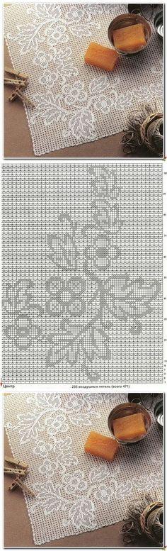World crochet: Tablecloth 66 Filet Crochet Charts, Crochet Motifs, Crochet Cross, Crochet Diagram, Irish Crochet, Crochet Doilies, Crochet Lace, Crochet Stitches, Crochet Table Runner