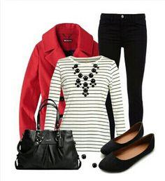 Blanco y negro con rojo