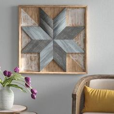 null This Framed Print on Wood has a distressed finish, distressed brown square cypress wood frame, distressed brown and white accents, blue and cyan star pattern at the center. Rustic Wood Wall Decor, Diy Wood Wall, Wall Decor Set, Flower Wall Decor, Wooden Decor, Metal Wall Decor, Rustic Walls, Wall Decor Crafts, Wooden Wall Panels