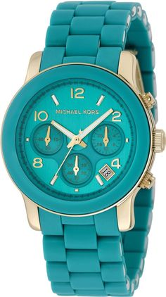 Amazon.com: Michael Kors Quartz, Turquoise Dial with Turquoise Stainless Bracelet - Womens Watch MK5266: Michael Kors: Watches
