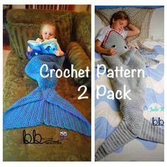 Mermaid with Ruffles and Shark Tail Blanket 2 by BeccasBeanies