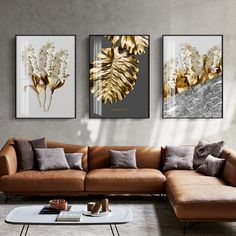 Abstract Tropical Gold Wall Art Nordic Style Golden Botanic Floral Fin – NordicWallArt.com Gold Wall Art, Leaf Wall Art, Abstract Wall Art, Wall Art Decor, Feather Wall Art, Living Room Paint, Living Room Decor, Art For Living Room, Paintings For Living Room