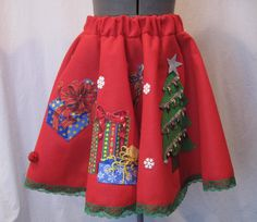Ugly Tacky Christmas Sweater Party Mini Skirt Gifts Tree Presents Felt Circle Poodle