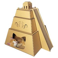 Mayan Pyramid Cardboard Cat House,Cat Furniture,Cat Bed,Cat Cave,Cat