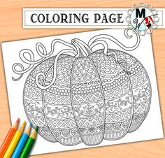 Free Printable Harvest Pumpkin Coloring Page for Fall Halloween