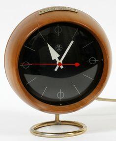 George Nelson U0026 Associates; Walnut, Brass And Enameled Metal Chronoack Table  Clock For Herman