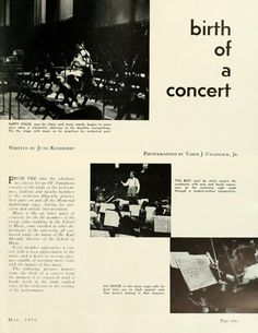 "The Ohio Alumnus, May 1956. ""Birth of a concert."" Student and faculty members practice for an Ohio University Symphony. :: Ohio University Archives"