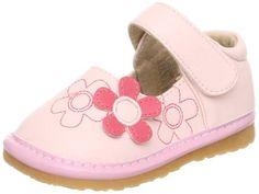 Unik Baby Boutique - Little Blue Lamb Girls Light Pink & Hot Pink Flower Trio Squeaky Shoe