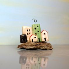 Beach art ceramic sculpture miniature houses urban by ednapio