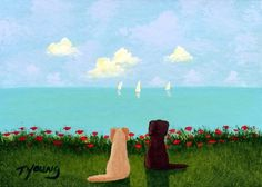 Yellow Chocolate Lab Dog art PRINT of Todd Young painting At The Beach on Etsy, $13.50