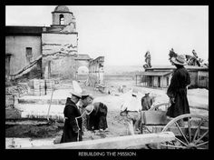 A small group of Friars led by Fr. O'Keefe rebuilt the San Luis Rey Mission in the 1890s. In this picture c. 1895 the team of friars are working in what is today's gift shop area.