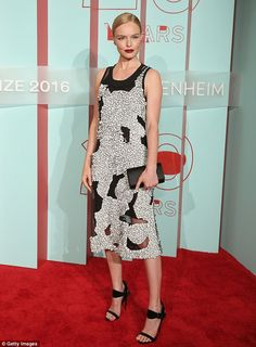 Beauty: Kate Bosworth looked stunning as she attended the Hugo Boss Prize event in New York City on Thursday evening