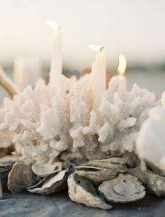 Beach Wedding Decor Idea: Candles In Coral For A Centerpiece Coral Centerpieces, Beach Wedding Centerpieces, Wedding Table, Diy Wedding, Trendy Wedding, Decor Wedding, Nautical Centerpiece, Centerpiece Ideas, Nautical Candles