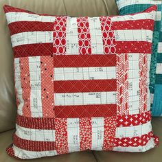 """Day 2 ❤️ #5in5handmadechallenge ❤️ photo 1 of 2 ❤️ #scrappy #pillow backed with cuddly Minky ❤️ belated bday gift for my nephew ❤️ I'm so crushing on that ledger  pattern @canoeridgecreations #freshminiquiltclub finishes 22.5"""" ❤️ #sewmystash2015 #handmade ❤️ Inviting @undiscoveredoptimist if you'd like to play!  originally tagged by @kidgiddy ... thanks again!  oh and this lives at @iamcatreading home now  #loveher #lovethem"""