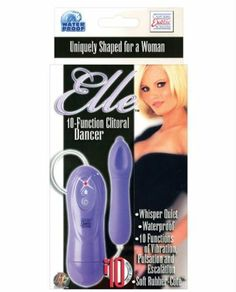 California Exotic Novelties Elle Purple 10-Function Clitoral Dancer Vibrator by California Exotic Novelties. Save 55 Off!. $15.95. Designed especially for her pleasure, the Elle is a clitoral vibrator with ten different sensual functions, a velvety finish, and an easy to use controller.The modest length makes it simple to hold, while the clitoral cup on one side and raised nub on the other offer a choice of sensations. A press of the LED-lit button on the controller scrolls through th...