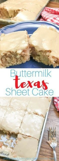 Buttermilk Texas Sheet Cake with vanilla is a delicious dessert to make for a birthday party, church potluck, or any holiday. The rich frosting is perfect with the cinnamon and vanilla flavoring. You are going to love this recipe. Sheet Cake Recipes, Frosting Recipes, Buttercream Frosting, Recipe Sheet, Texas Sheet Cake Buttermilk, Texas Sheet Cakes, Texas Cake, Cupcake Cakes, Gourmet
