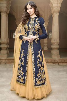Women s Clothing - Gulzar Banglori Silk Blue Lehenga Style Anarkali Suit - 1506 - Soothing color with beautifully placed embroidery, elegance at its best.Salwaar Suits - Gulzar Banglori Silk Blue Lehenga Style Anarkali Suit - 1506 - So Anarkali Lehenga, Lehenga Suit, Lehenga Style, Silk Lehenga, Anarkali Suits, Indian Anarkali, Blue Lehenga, Indowestern Lehenga, Long Anarkali