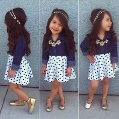Polka dot skirt, jean chambray shirt, love her hair