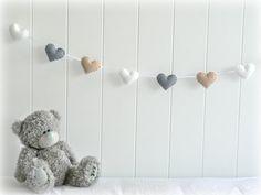 Heart garland heart banner nursery decor by LullabyMobiles - GREY & BEIGE! Teddy bear perfect!