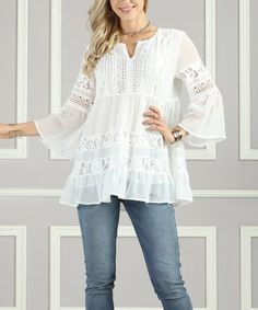 This White Lace Bell-Sleeve Tunic - Women & Plus is perfect! #zulilyfinds