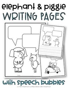 Elephant And Piggie Worksheets & Teaching Resources 1st Grade Writing, Kindergarten Writing, Teaching Writing, Elementary Library, Art Lessons Elementary, Reading Resources, Book Activities, Sequencing Activities, Piggie And Elephant