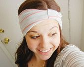 Stripe head wrap - coral and heather gray - wide stretch headband with knot turban