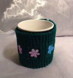 Small decorative knitted mug warmer Mug Warmer, Mugs, Tableware, Handmade, Etsy, Decor, Decorating, Dinnerware, Cups