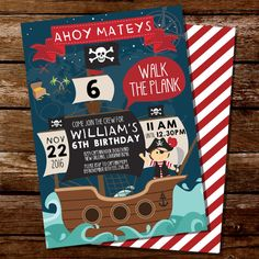 Pirate Party Invitation  Pirate Map Invitation  by SunshineParties
