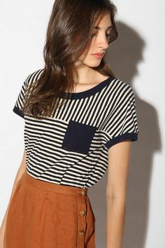Cut tee and re sew back together shorter and horizontal and looser (for high waist shorts)