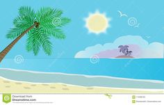 Vacanza In Una Spiaggia Tropicale Illustrazione di Stock - Illustrazione di vacanza, gabbiani: 115598185