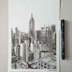 Drawing New York whilst I wait for my super thin pen to arrive #art #drawing #pen #sketch #illustration #linedrawing #city #cityscape #newyork #nyc #architecture #skyscraper #empirestatebuilding