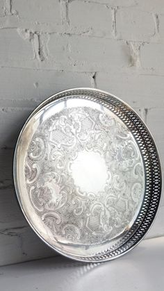 Large Round Vintage Footed Silverplated Serving or VanityTray