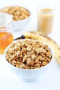 Peanut Butter, Banana, and Honey Granola Recipe on twopeasandtheirpod.com This easy homemade granola is great for breakfast or snacking!