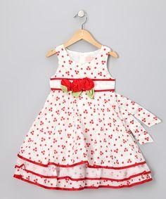 White & Red Flower Dress - Infant & Toddler