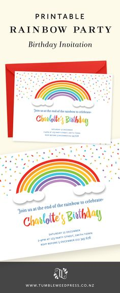 I love a Rainbow or Unicorn party theme! So colorful!! Quick and easy printable invitation by TumbleweedPress.Co
