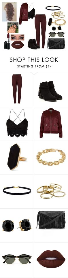 """Arianna"" by dearxadriana on Polyvore featuring J Brand, Topshop, River Island, Jaeger, Calvin Klein, Kendra Scott, Kate Spade, Ray-Ban, Lime Crime and MAC Cosmetics"