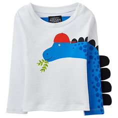 Buy Baby Joule Zany 3D Dinosaur Top, White/Blue Online at johnlewis.com