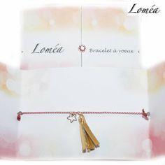 Bracelet à voeux cordon fin en soie rose, plaqué or gold filled et pompon : Bracelet par lomea