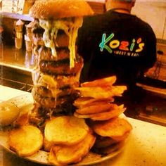 Not For The Faint-Hearted Burger @ Kozi's Meet 'n Eat Restaurant Reservations, Cheesesteak, Fine Dining, Slow Cooker Recipes, Free Food, Hamburger, Meet, Ethnic Recipes, Hamburgers