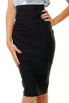 STOP STARING Black Pleated Pencil Skirt