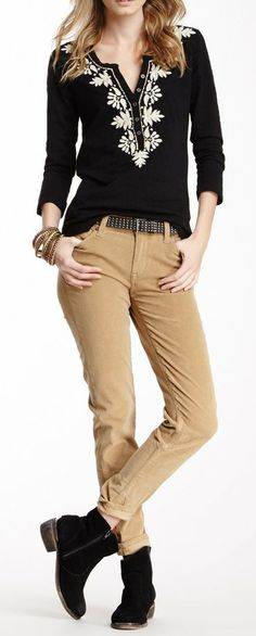 Want a FAT version of this outfit...cute! Lucky Brand Sofia Cord Skinny Pant