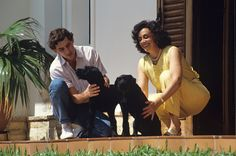 Ayrton Senna and his mother with the family pets