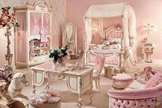 A really PINK girl's bedroom! ~ Pink French bedroom.