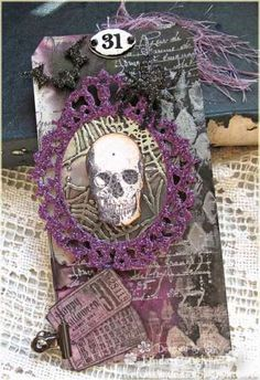 Stamped Halloween Tag - love the purple!