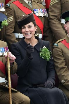 duchesskate: St. Patrick's Day Parade, 1st Battalion Irish Guards,Mons Barracks, Aldershot, March 17, 2015-Duchess of Cambridge