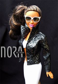 Barbie doll faux leather jacket with belt