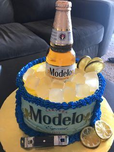 Beer Decorations, 50th Birthday Party Decorations, Wooden Cupcake Stands, 21st Birthday, Birthday Cake, Beer Can Cakes, Modelo Beer, Doctor Cake, Dad Cake